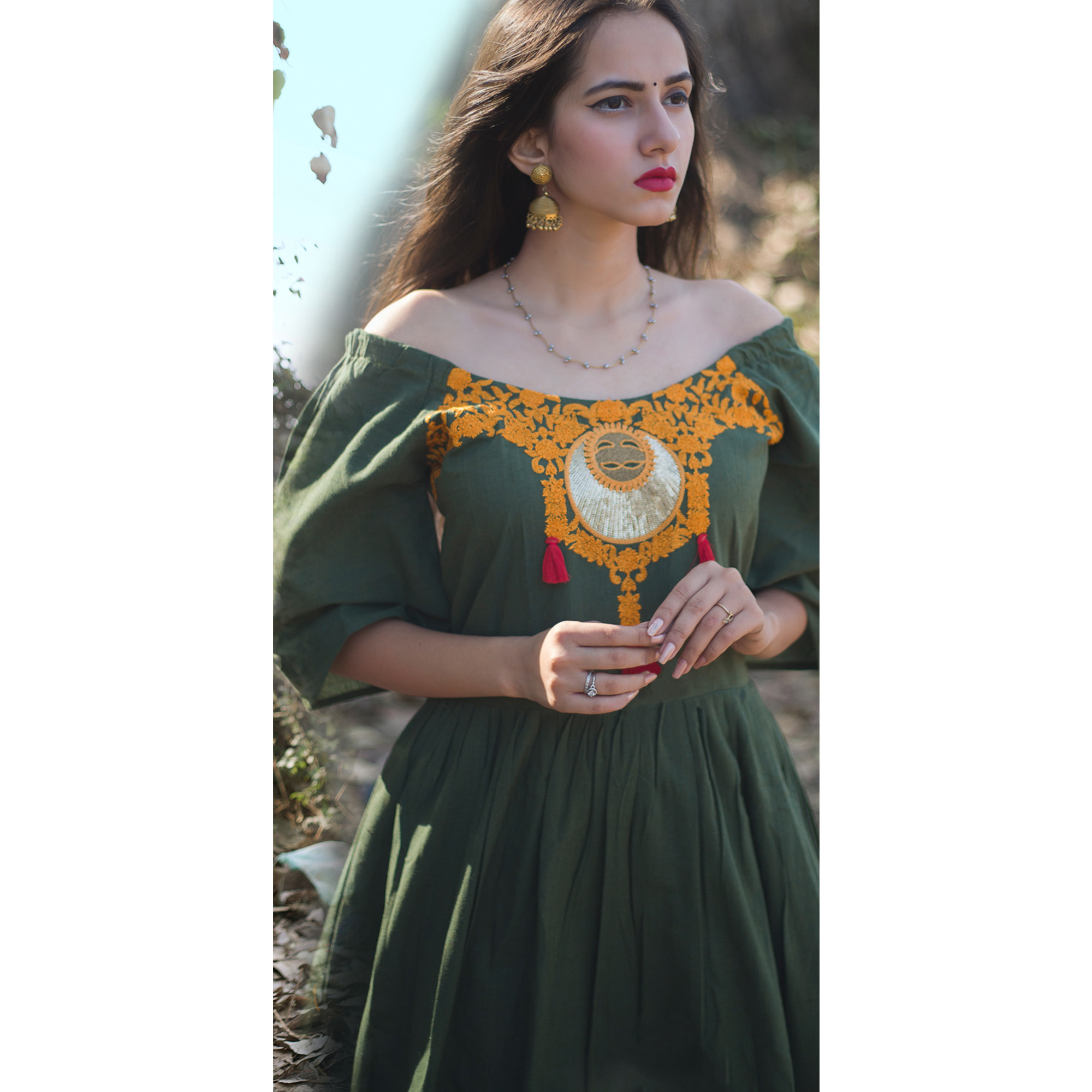Exceptional Olive Green Colored Partywear Embroidered Linen Long Kurti