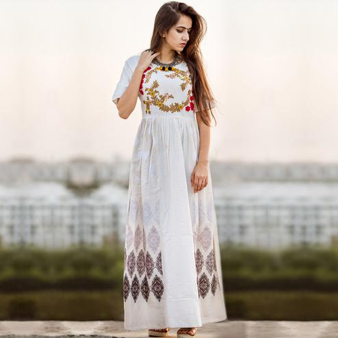 Appealing White Colored Partywear Embroidered Linen Long Kurti