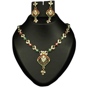 Kundan Red & Green Austrian Stone Gold Finish Necklace Set