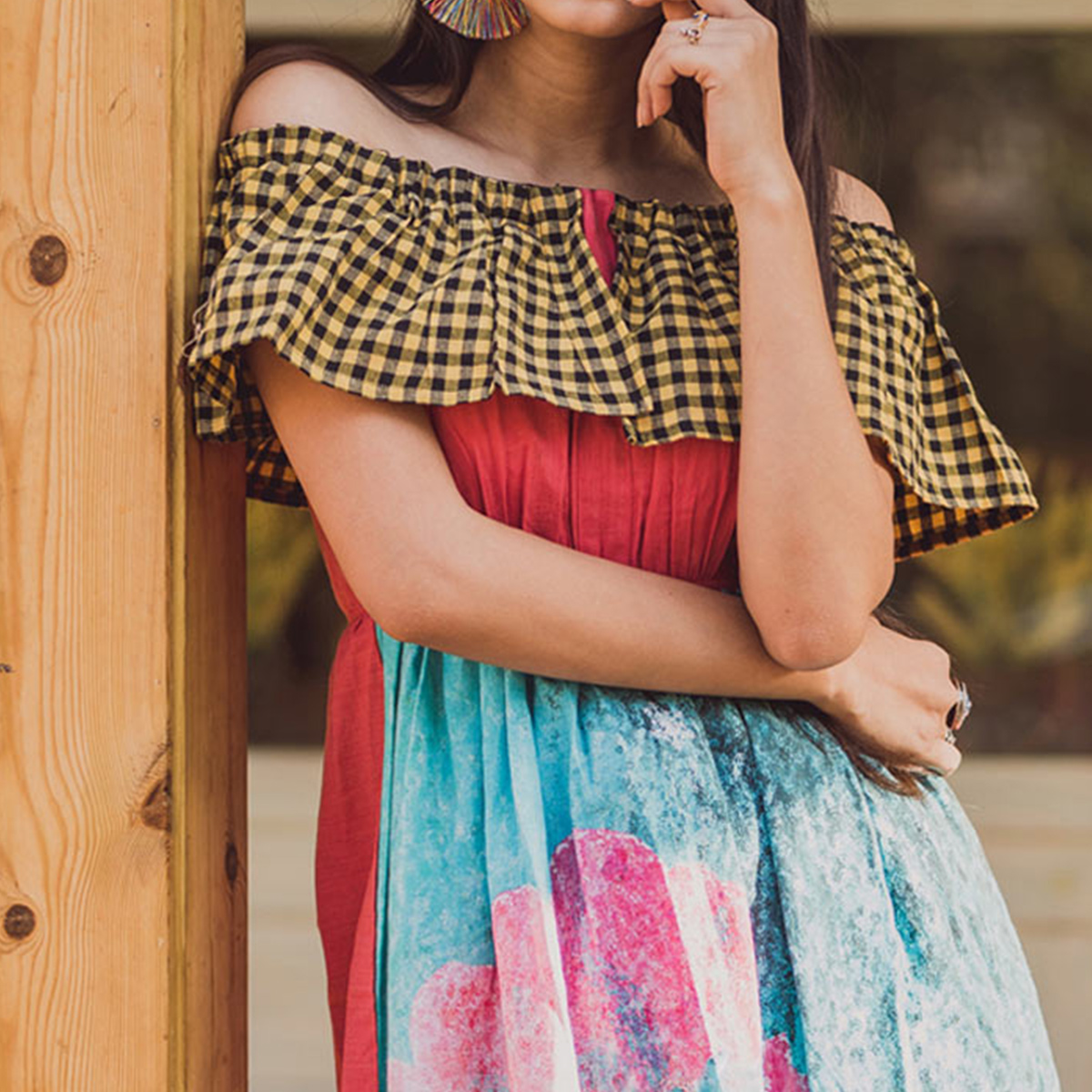 Energetic Multi Colored Partywear Embroidered Linen Long Kurti