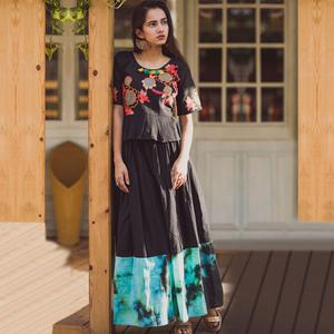Flamboyant Black Colored Partywear Embroidered Linen Long Kurti