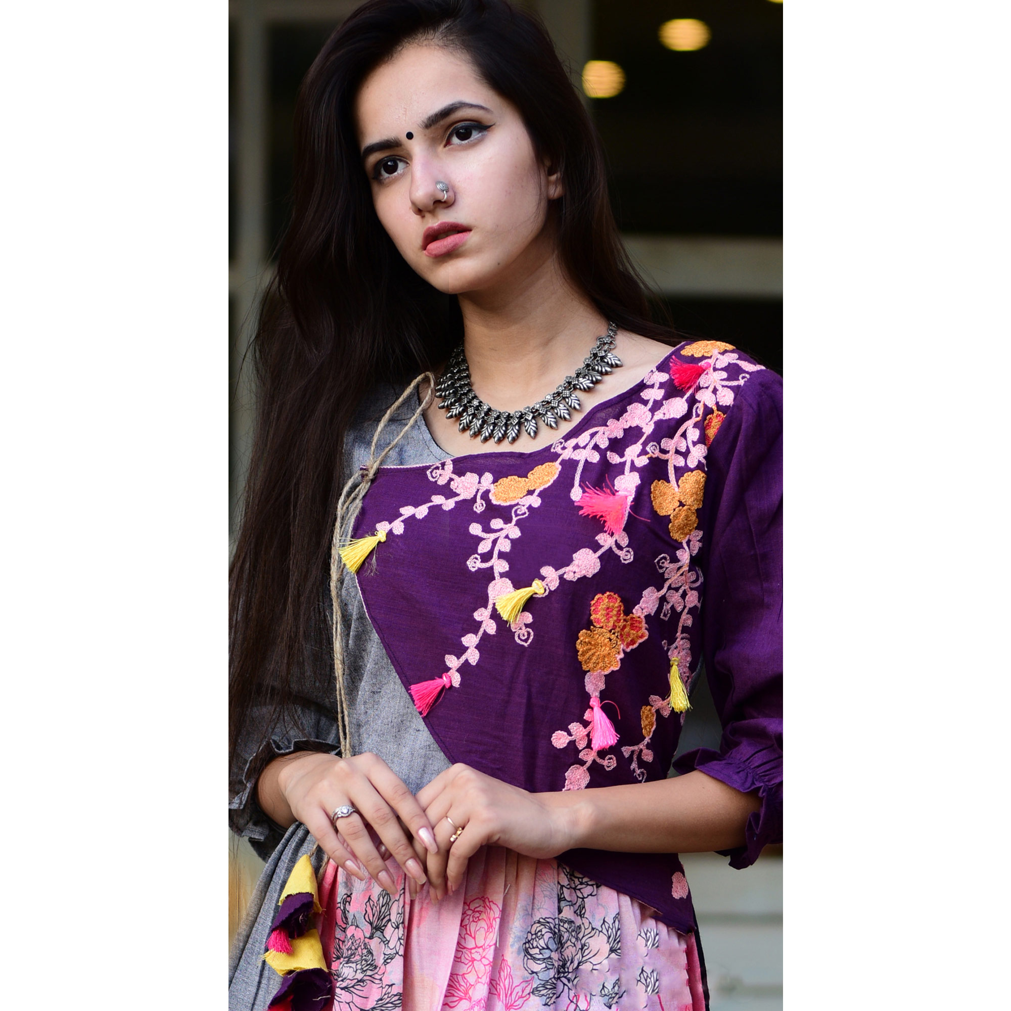 Excellent Pink-Purple Colored Partywear Embroidered Linen Long Kurti