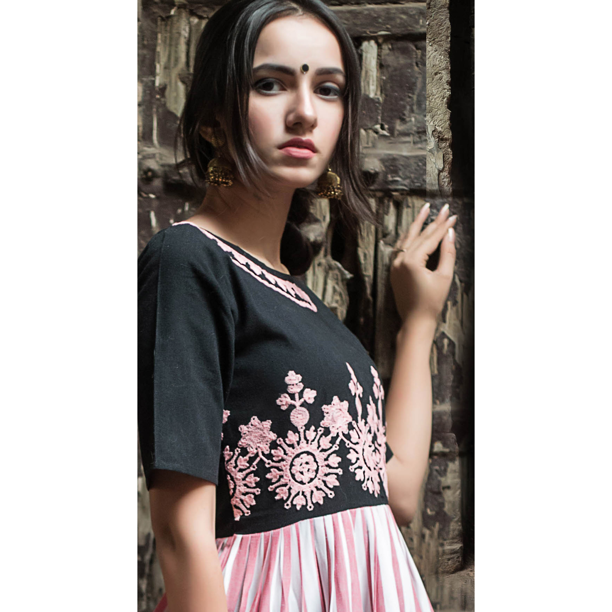 Arresting Black-Pink Colored Partywear Embroidered Linen Long Kurti