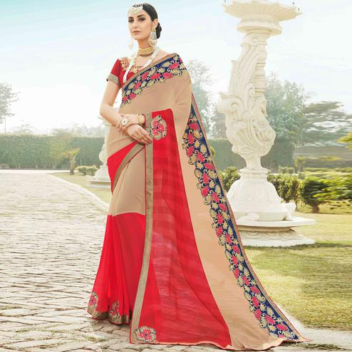 Alluring Beige & Red  Colored Party Wear Embroidered Work Chiffon & Georgette Saree