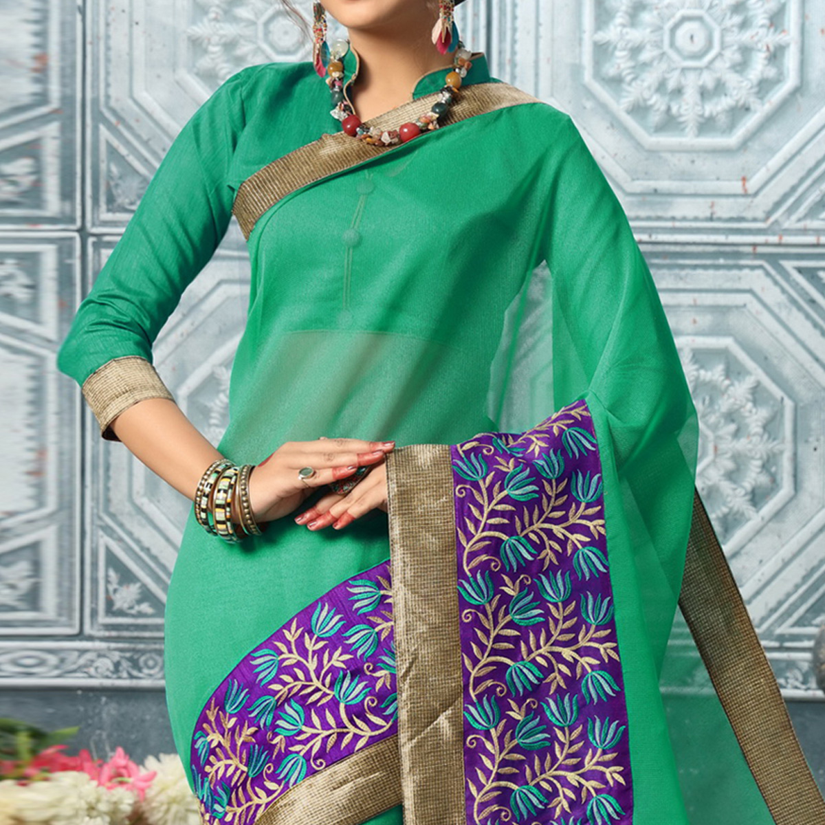 Elegant Green Colored Party Wear Embroidered Work Art Silk Saree