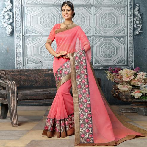 Alluring Light Pink Colored Party Wear Embroidered Work Art Silk Saree