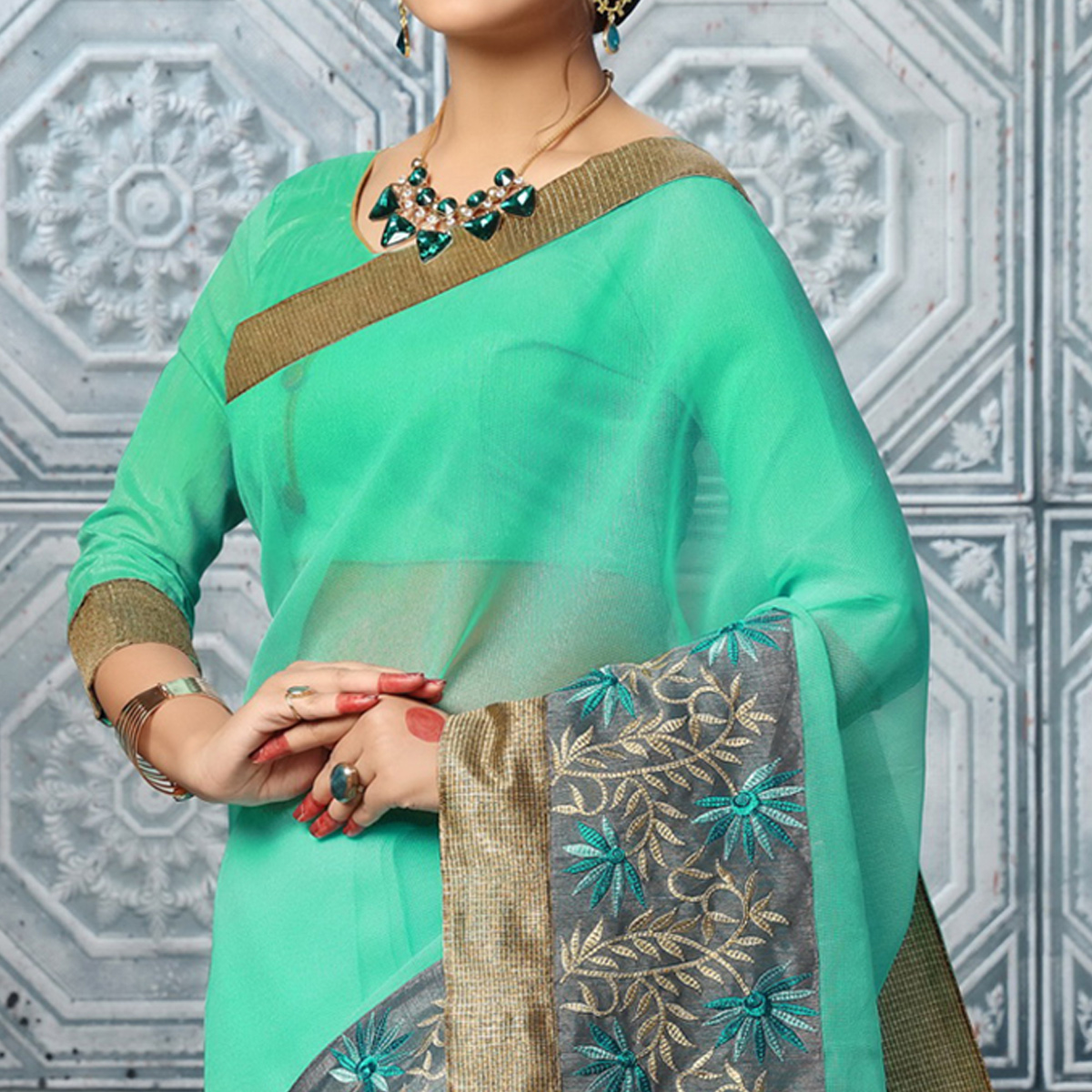 Radiant Sea Green Colored Party Wear Embroidered Work Art Silk Saree
