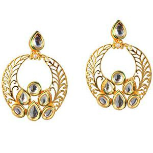Kundan Pearl Green Meenakari Gold Finish Dangle Earrings