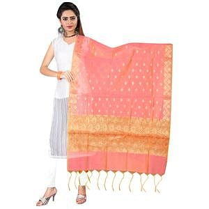 Attractive Peach Colored Banarasi Silk Dupatta