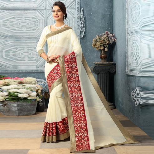Amazing White Colored Party Wear Embroidered Work Art Silk Saree