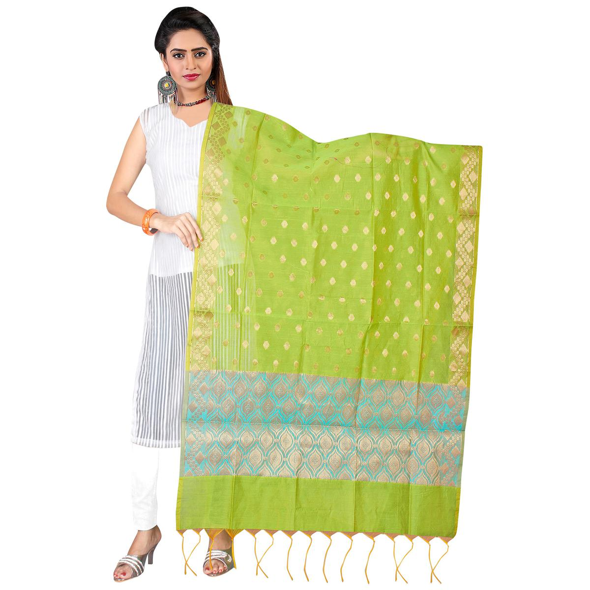 Refreshing Green Colored Banarasi Silk Dupatta