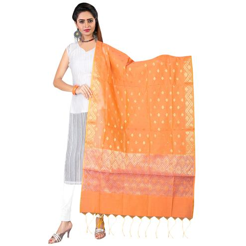 Adorning Orange Colored Banarasi Silk Dupatta