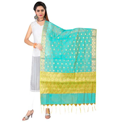 Lovely Turquoise Blue Colored Banarasi Silk Dupatta