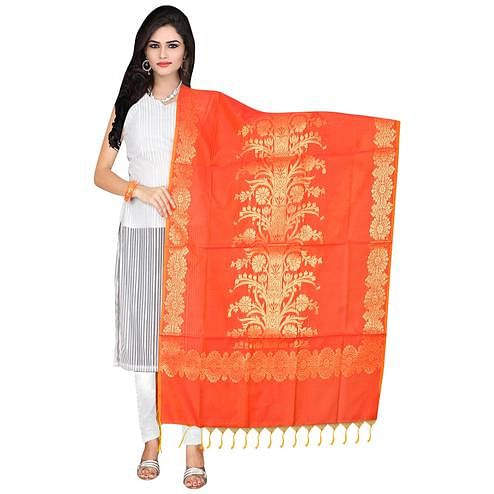 Blissful Orange Colored Banarasi Silk Dupatta