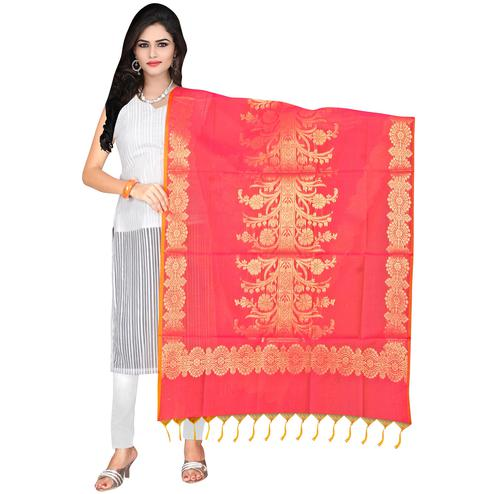 Desiring Pink Colored Banarasi Silk Dupatta