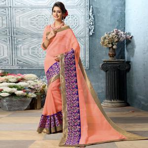 Stunning Peach Colored Party Wear Embroidered Work Art Silk Saree