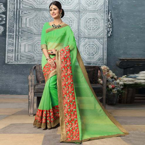 Awesome Green Colored Party Wear Embroidered Work Art Silk Saree