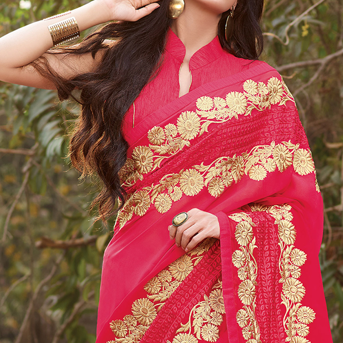 Gleaming Pink  Colored Party Wear Floral Embroidered Georgette Saree