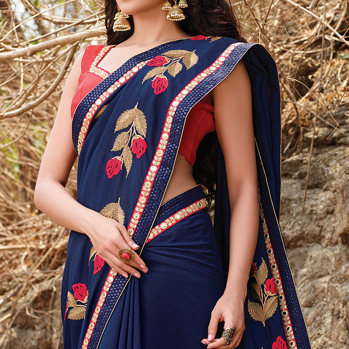 Elegant Blue Colored Party Wear Floral Embroidered Silk Georgette Saree