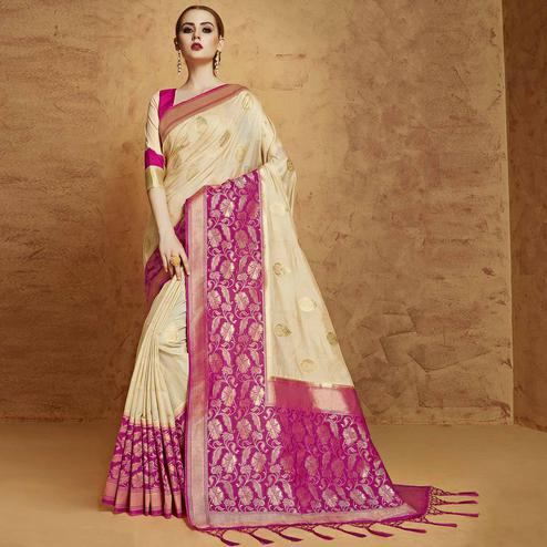 Alluring Off-White Colored Festive Wear Weaving Work Banarasi Silk Saree