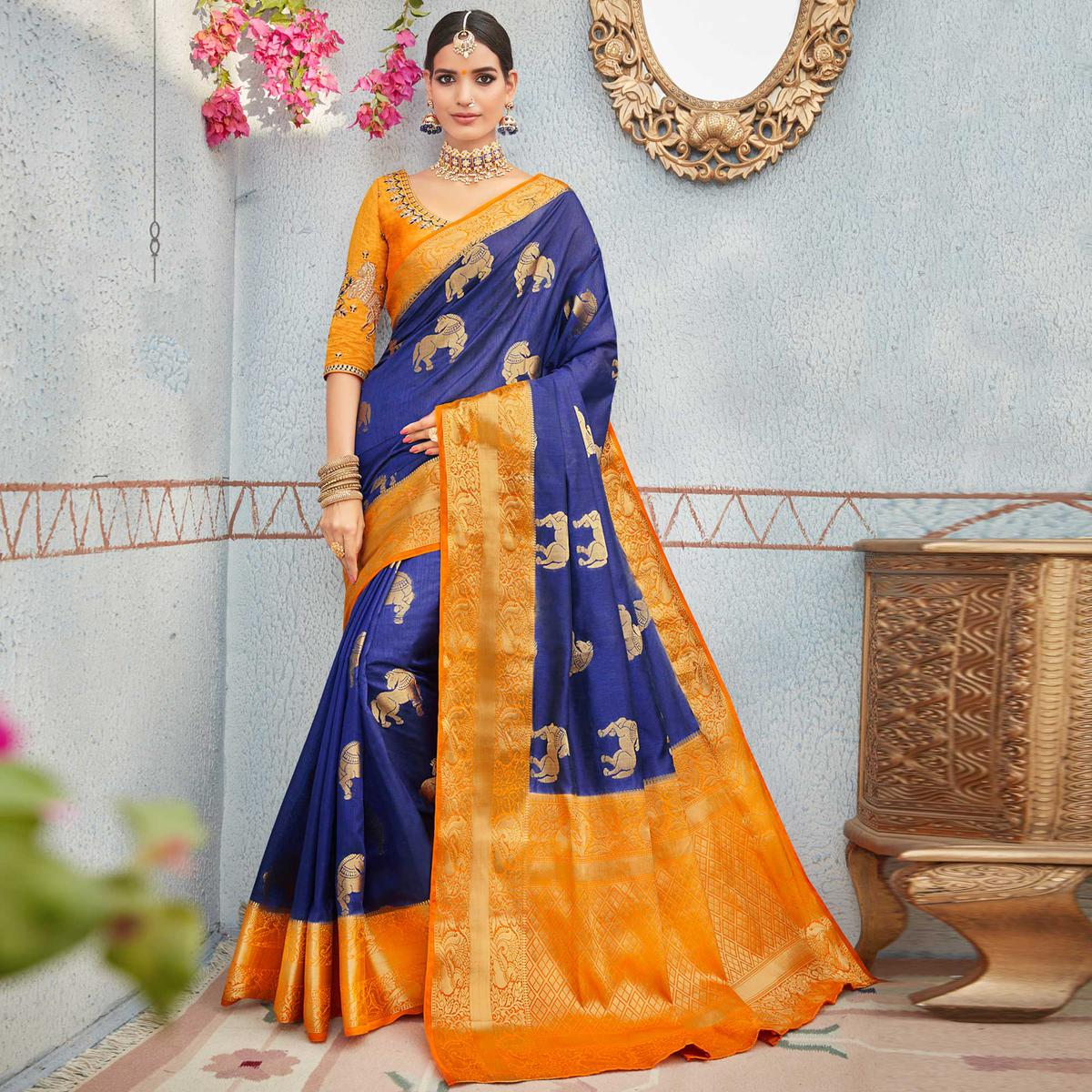 Unique Blue & Orange Colored Festive Wear Weaving Work Banarasi Silk Saree