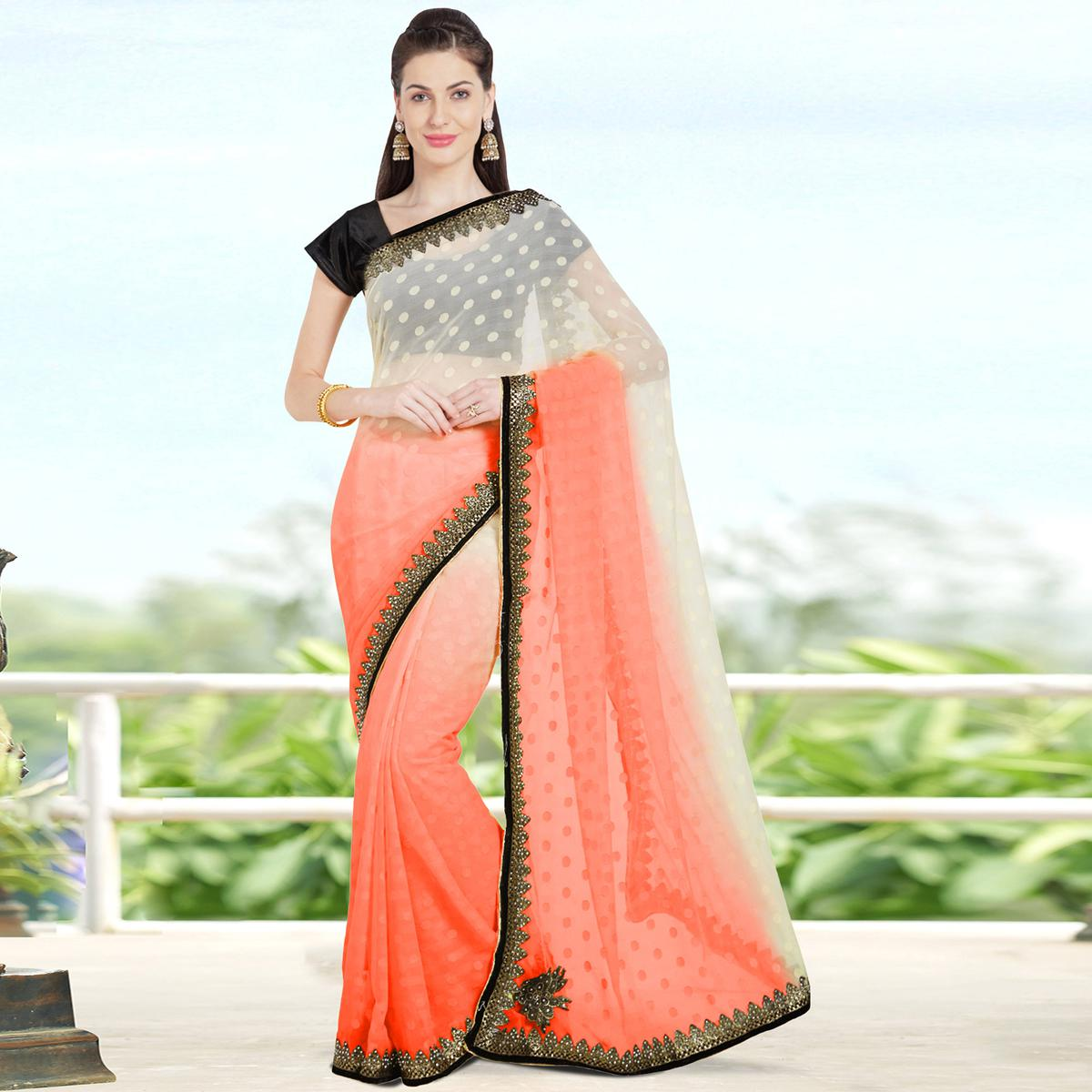 Starring Orange Colored Party Wear Embroidered Lycra Saree
