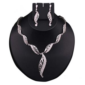 Austrian Stone Rhodium Finish Necklace Set