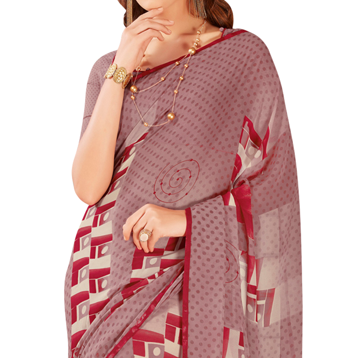 Awesome Light Wine Colored Casual Wear Printed Georgette Saree