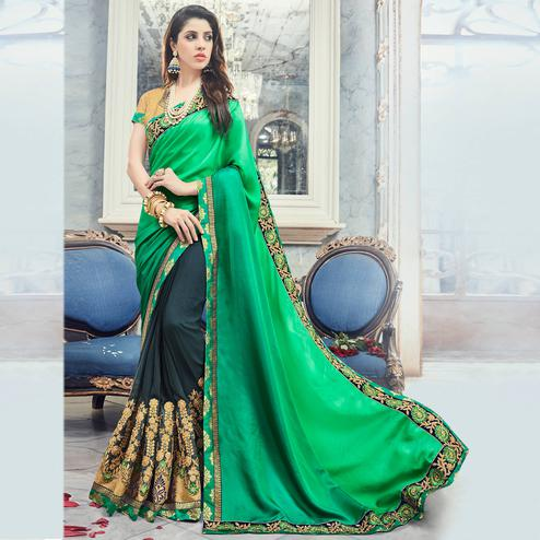 Grey And  Green Colored Party Wear Floral Embroidered Georgette Saree