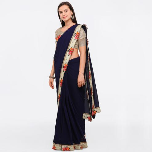 Glowing Blue Colored Party Wear Floral Embroidered Chiffon Saree