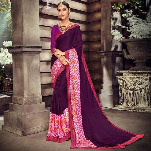 Pretty Purple Colored Casual Wear Digital Printed Silk Saree
