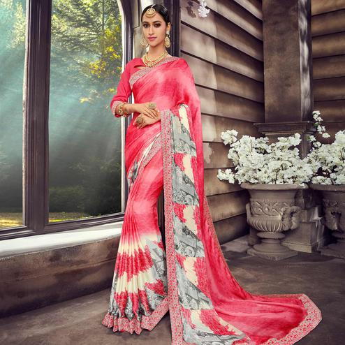 Cool Pink Colored Casual Wear Digital Printed Silk Saree