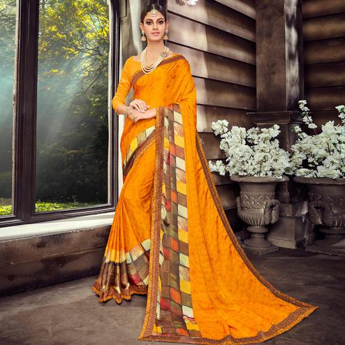 Groovy Mustard Yellow Colored Casual Wear Digital Printed Silk Saree