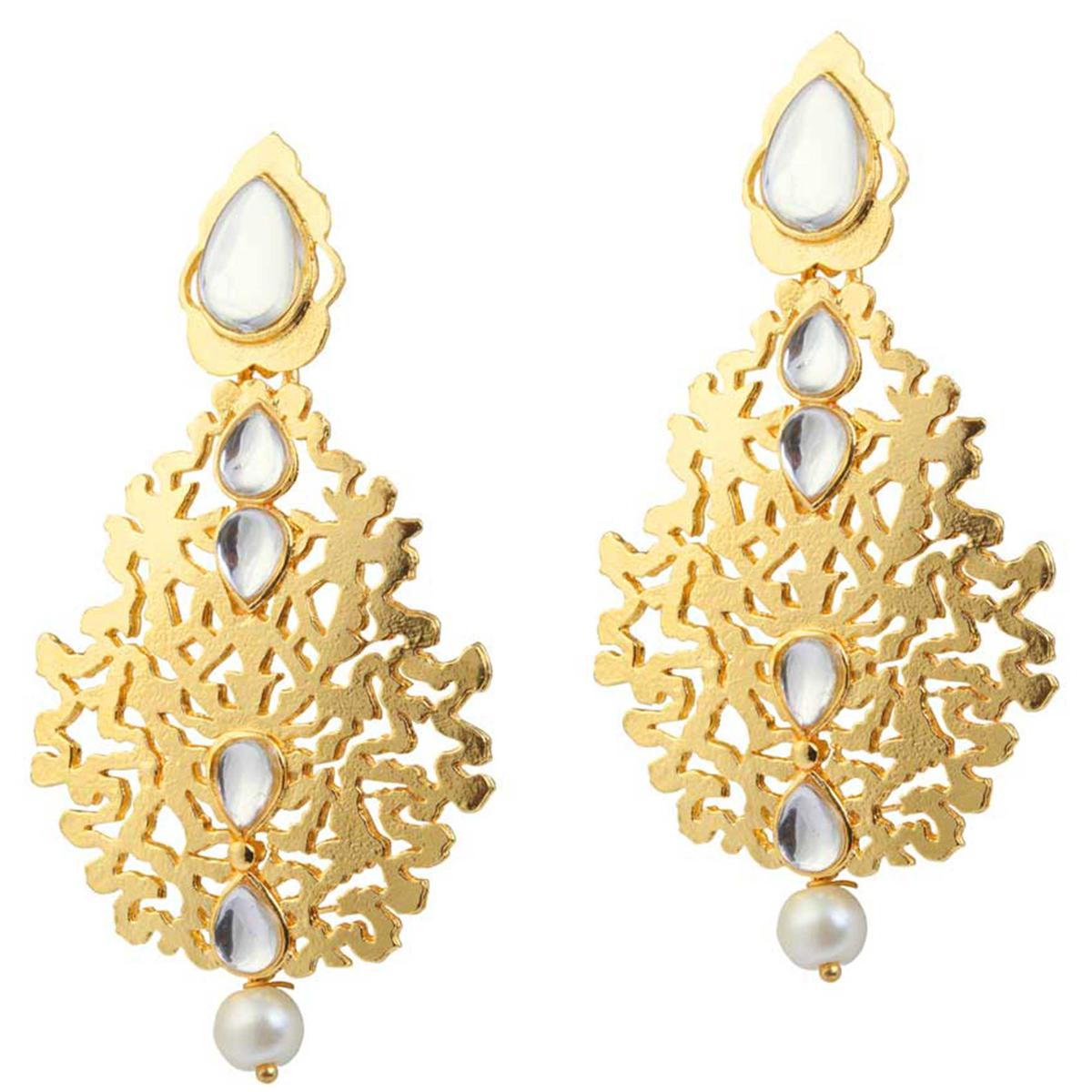 Kundan Pearl Gold Finish Dangle Earrings