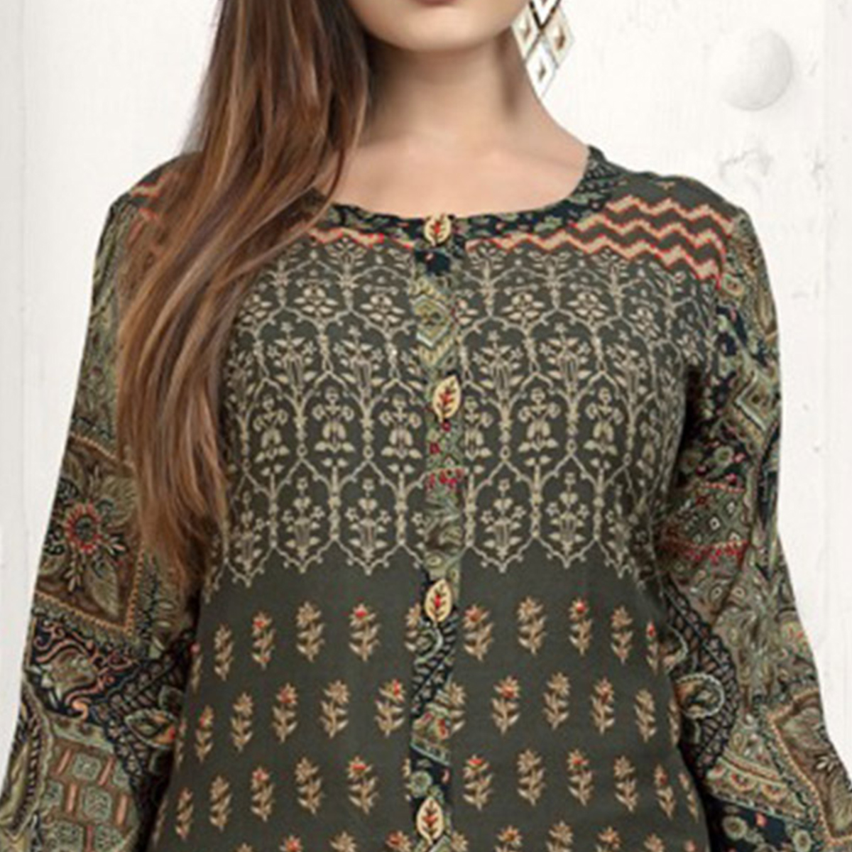 Alluring Olive Green Colored Casual Wear Printed Rayon Kurti