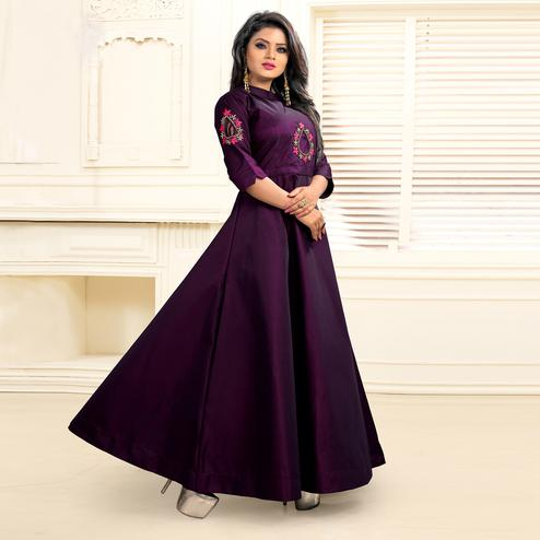 Magnetic Purple Colored Partywear Embroidered Tapetta Silk Gown