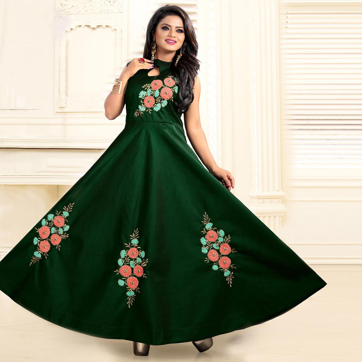 Excellent Dark Green Colored Partywear Embroidered Tapeta Silk Gown