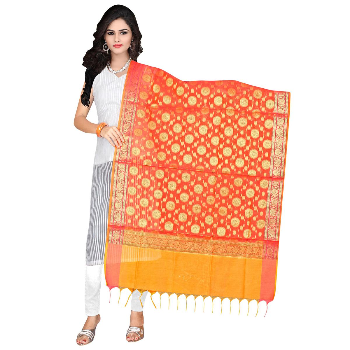 Elegant Orange Colored Banarasi Silk Dupatta