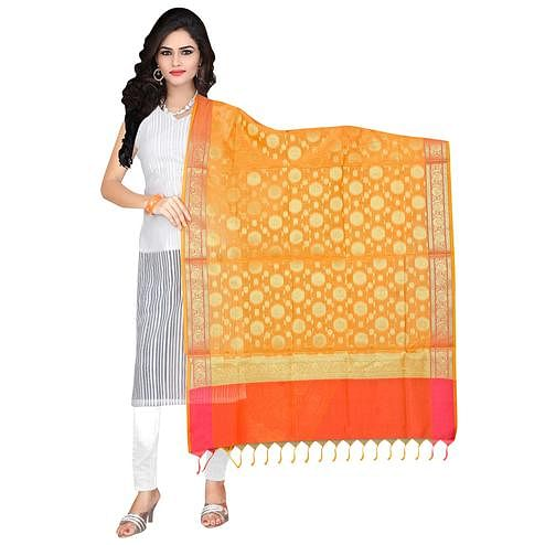 Adorning Yellow Colored Banarasi Silk Dupatta