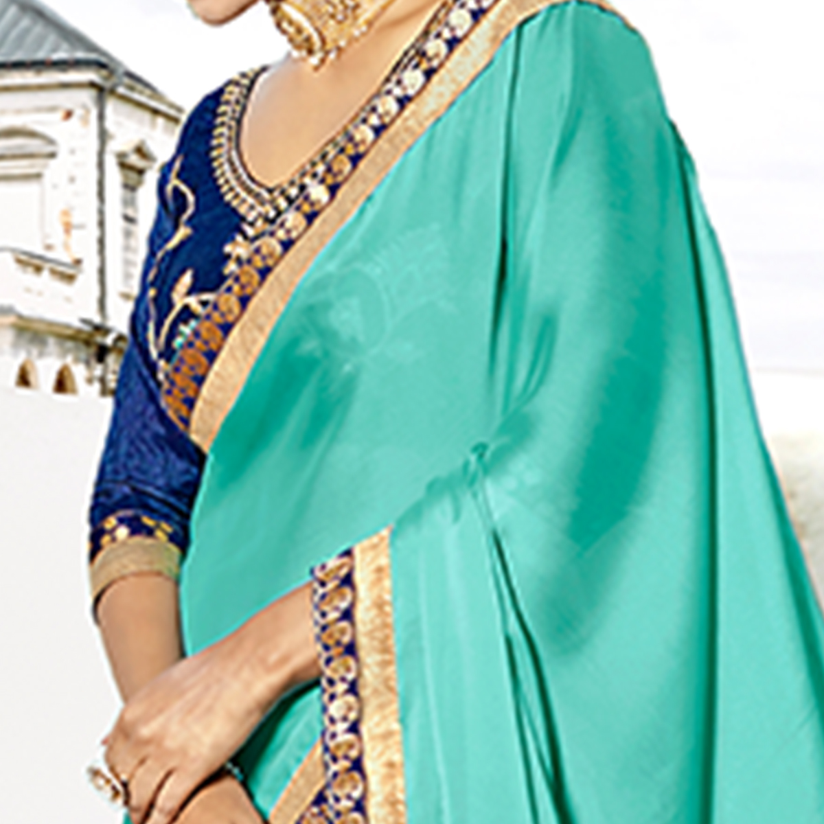 Irresistible Turquoise Green-Royal Blue Colored Partywear Embroidered Silk-Georgette Half-Half Saree