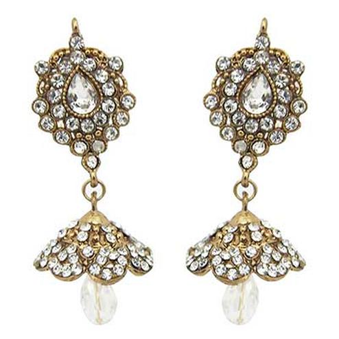 White Austrian Stone Gold Finish Jhumki Earrings