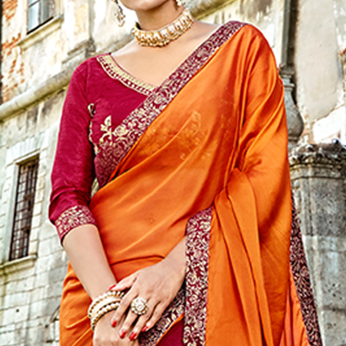 Blooming Orange-Maroon Colored Partywear Embroidered Silk-Georgette Half-Half Saree