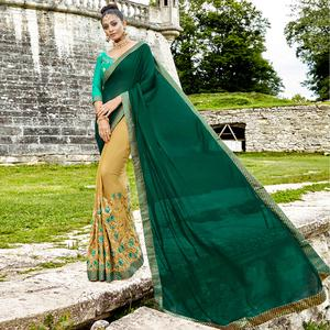 Glowing Pine Green-Beige Colored Partywear Embroidered Silk-Georgette Half-Half Saree