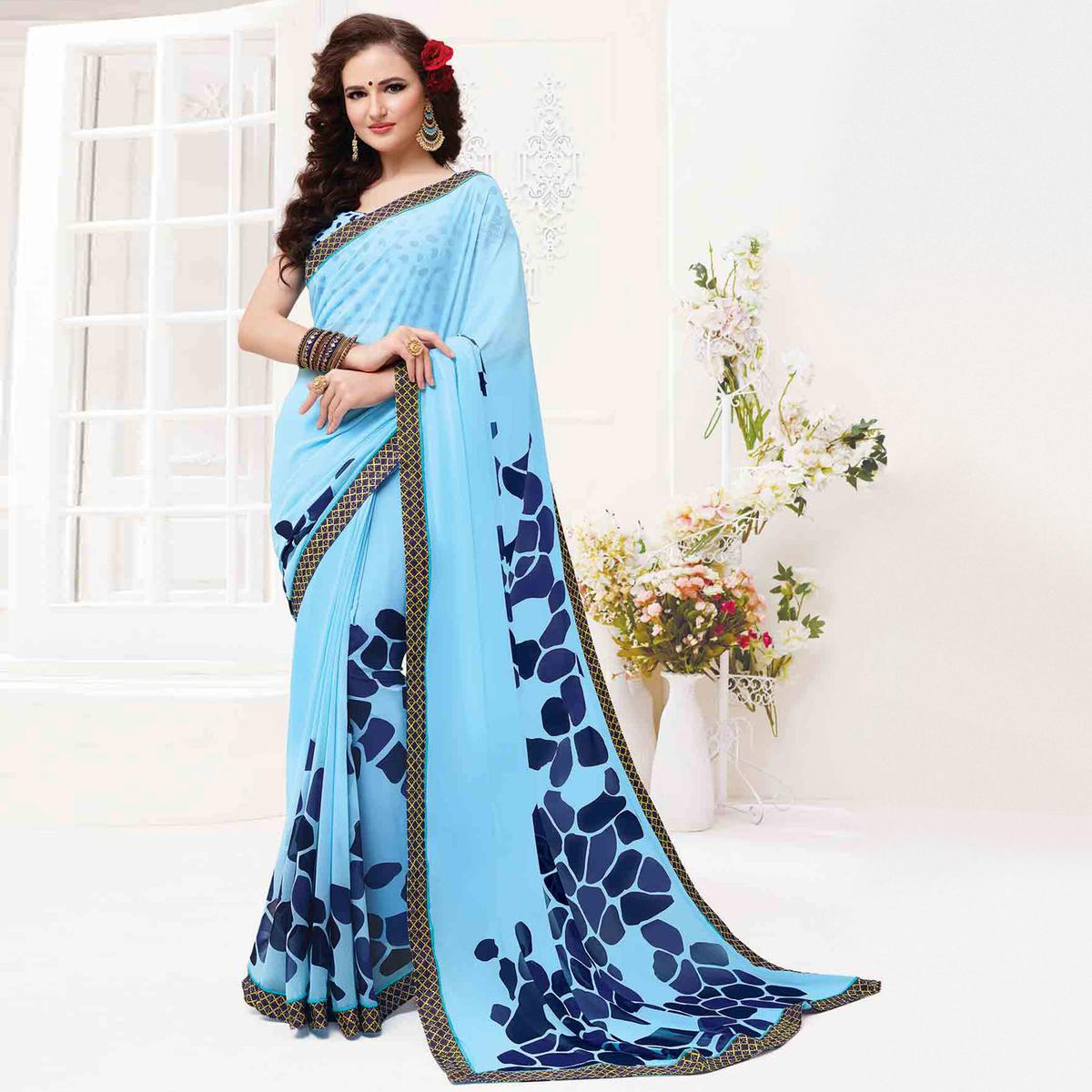 Adorning Light Blue Colored Casual Wear Printed Georgette Saree