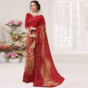 Glowing Beige & Red Colored Casual Wear Printed Georgette Saree