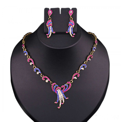 Blue & Pink Austrian Stone Gold Finish Necklace Set