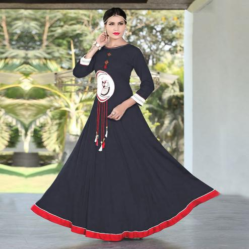 Amazing Navy Blue Colored Designer Party Wear Embroidered Work Rayon Kurti