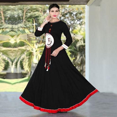 Glowing Black Colored Designer Party Wear Embroidered Work Rayon Kurti