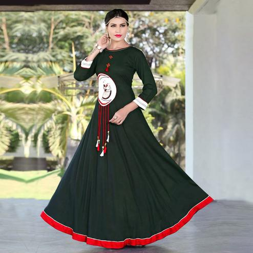 Awesome Dark Green Colored Designer Party Wear Embroidered Work Rayon Kurti