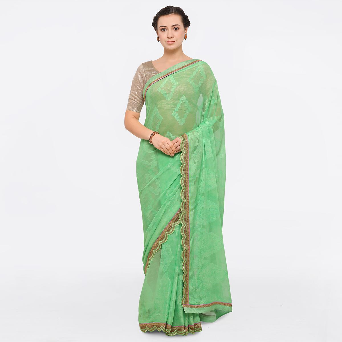 Glorious Green Colored Party Wear Georgette Brasso Saree